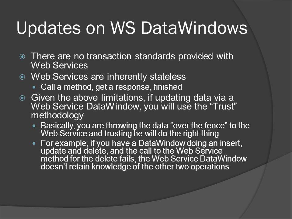 Updates on WS DataWindows
