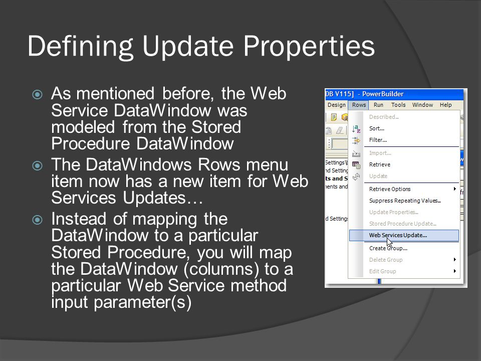 Defining Update Properties