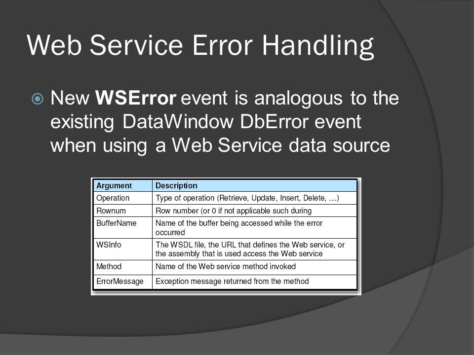 Web Service Error Handling
