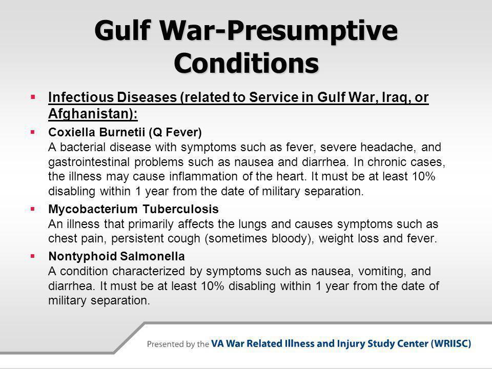 Gulf War-Presumptive Conditions