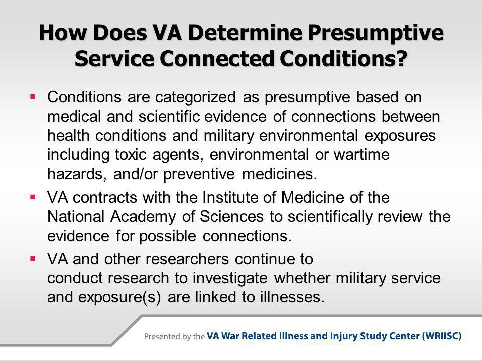How Does VA Determine Presumptive Service Connected Conditions