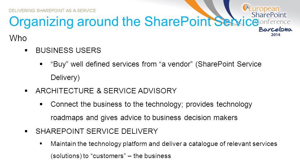 Organizing around the SharePoint Service