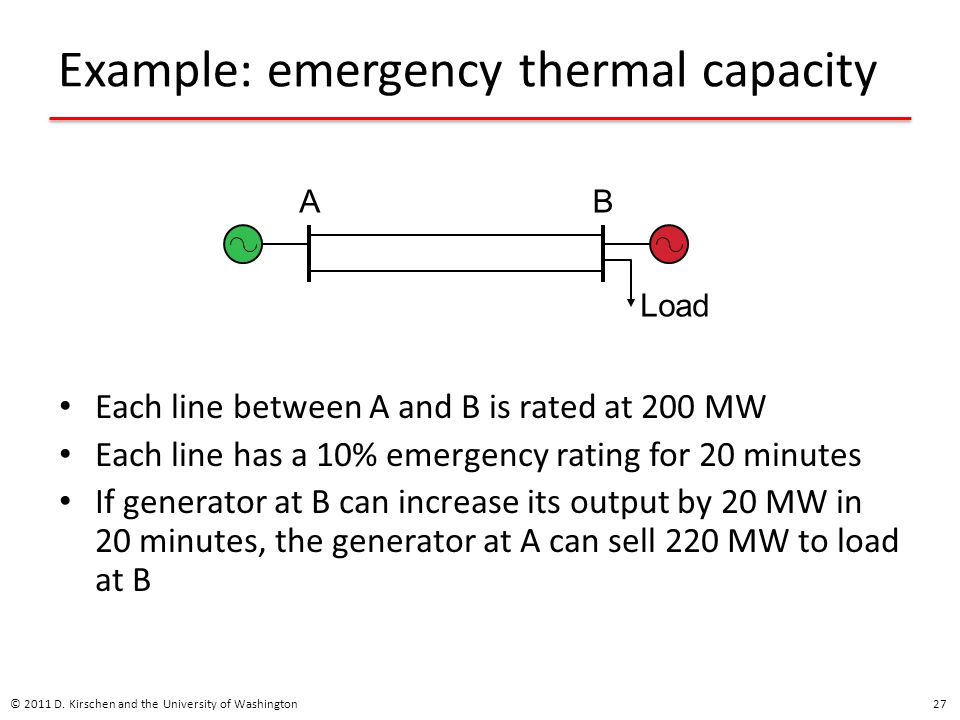 Example: emergency thermal capacity