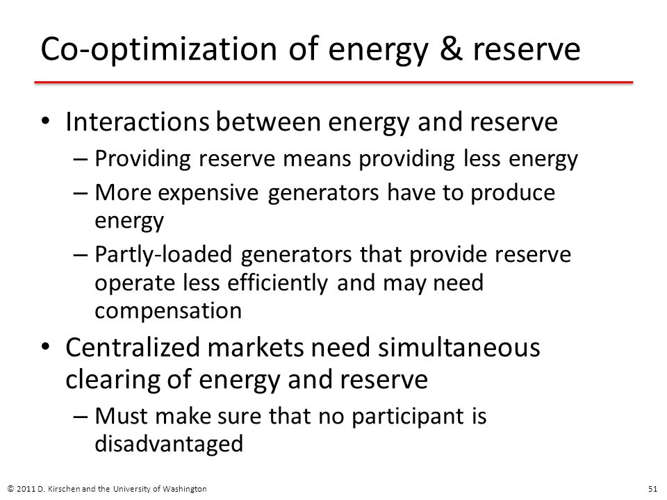 Co-optimization of energy & reserve