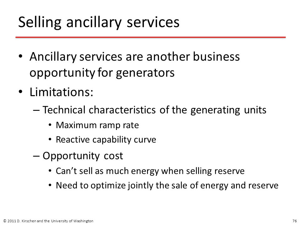 Selling ancillary services