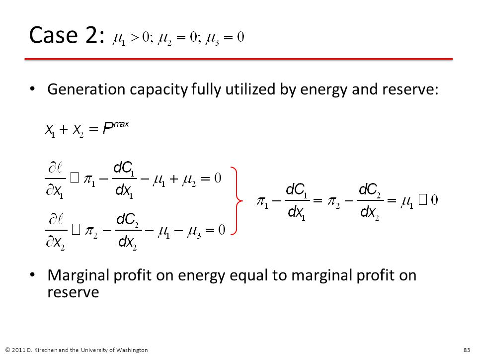 Case 2: Generation capacity fully utilized by energy and reserve: