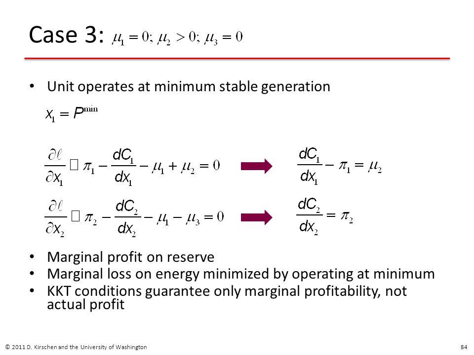 Case 3: Unit operates at minimum stable generation