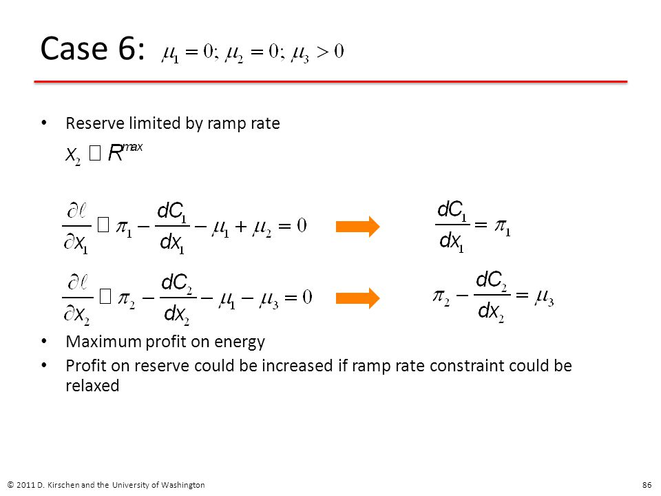 Case 6: Reserve limited by ramp rate Maximum profit on energy