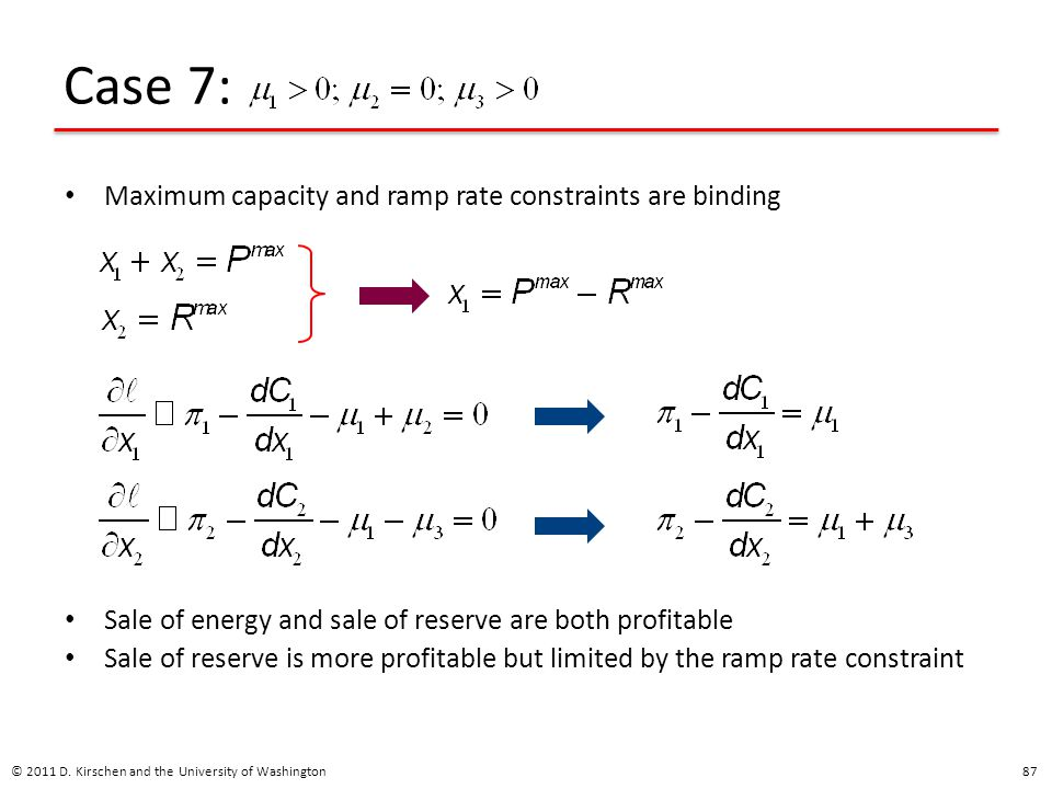 Case 7: Maximum capacity and ramp rate constraints are binding
