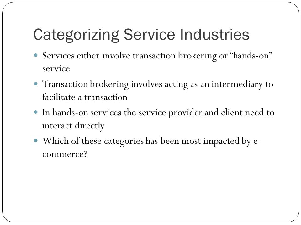 Categorizing Service Industries