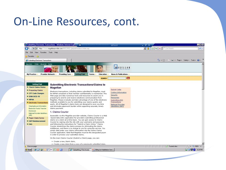 On-Line Resources, cont.