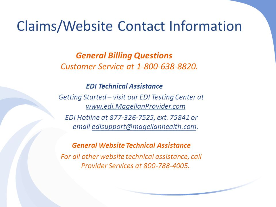EDI Technical Assistance General Website Technical Assistance