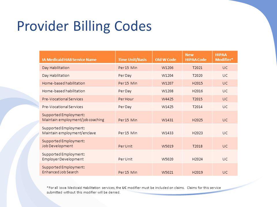 Provider Billing Codes