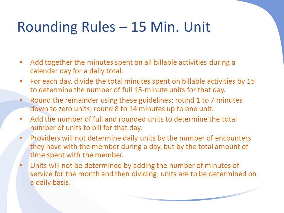 Rounding Rules – 15 Min. Unit