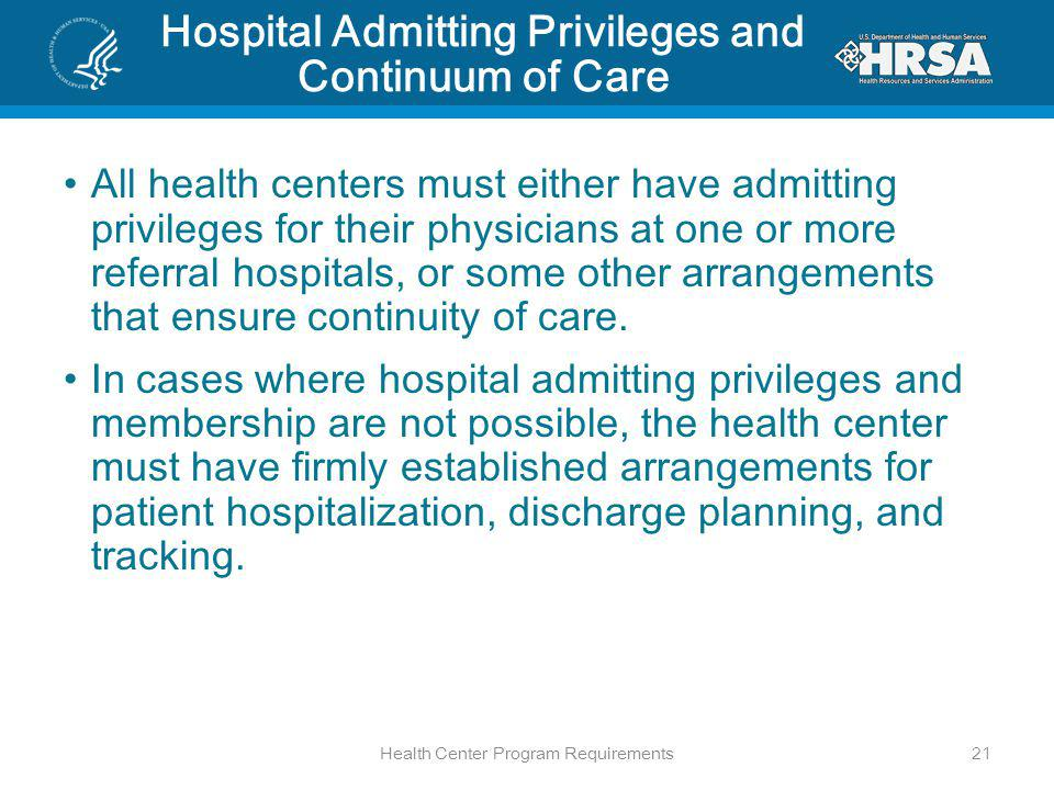 Hospital Admitting Privileges and Continuum of Care