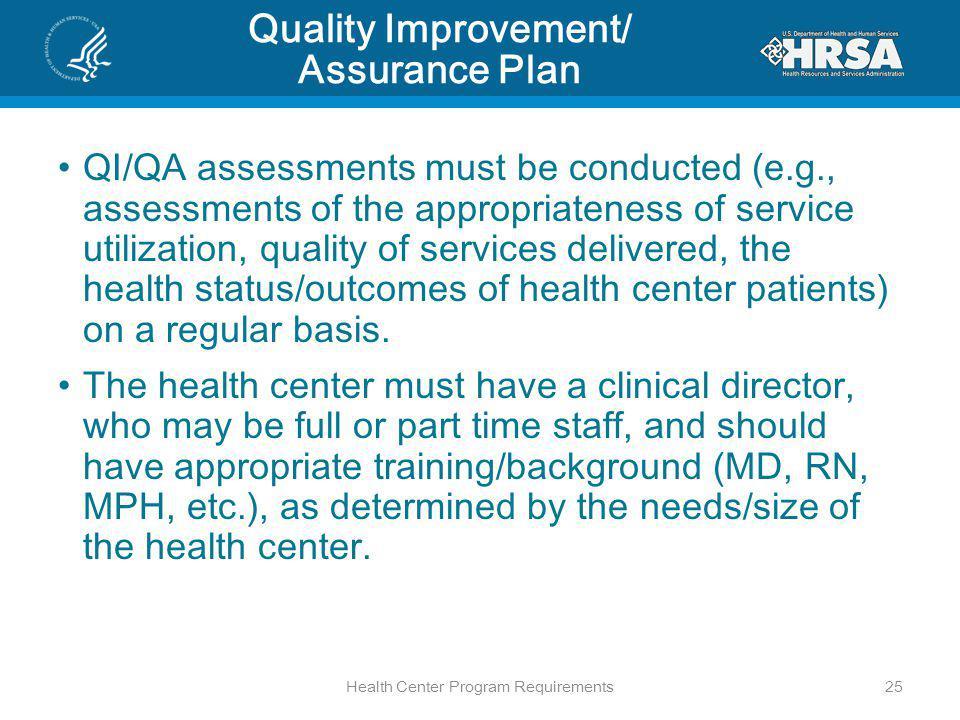 Quality Improvement/ Assurance Plan