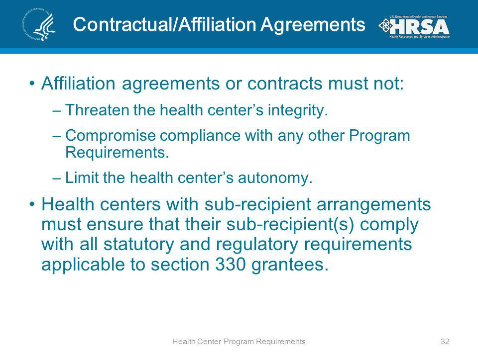 Contractual/Affiliation Agreements