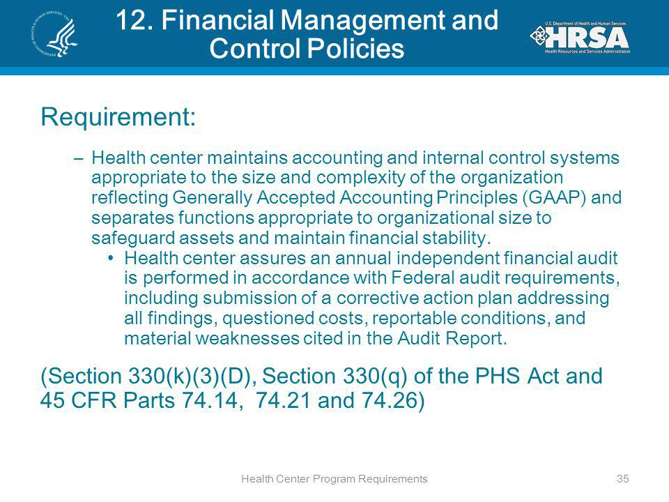 12. Financial Management and Control Policies