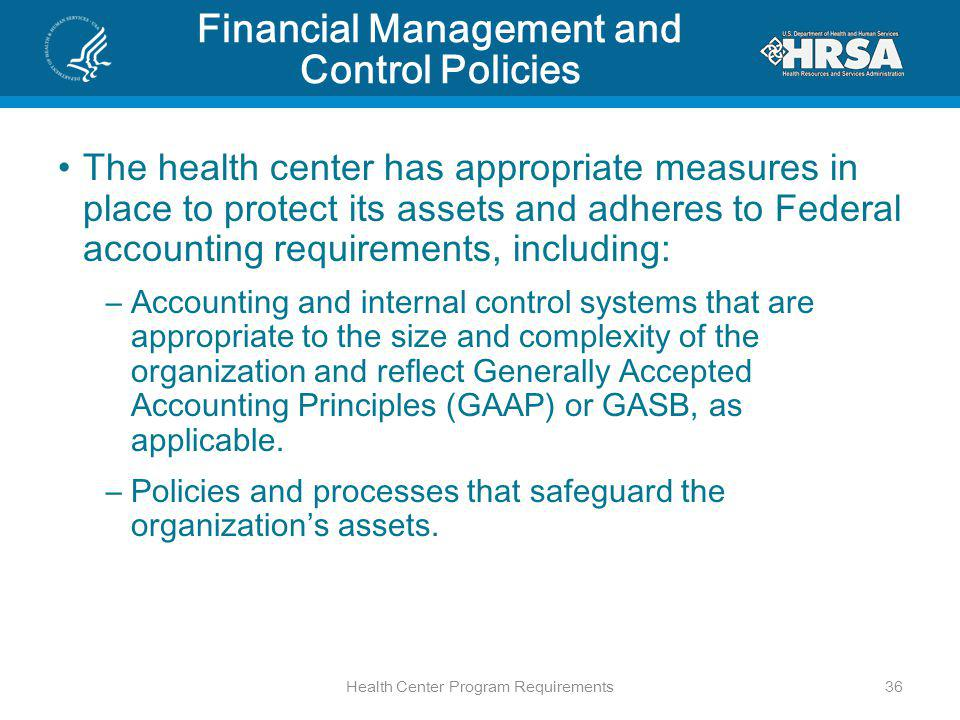 Financial Management and Control Policies