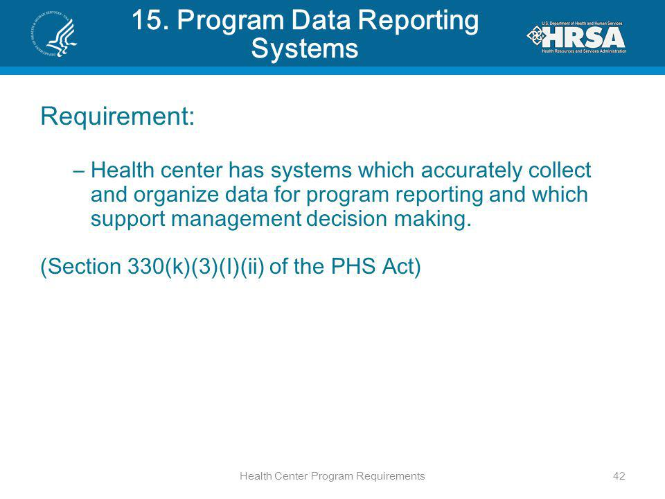 15. Program Data Reporting Systems