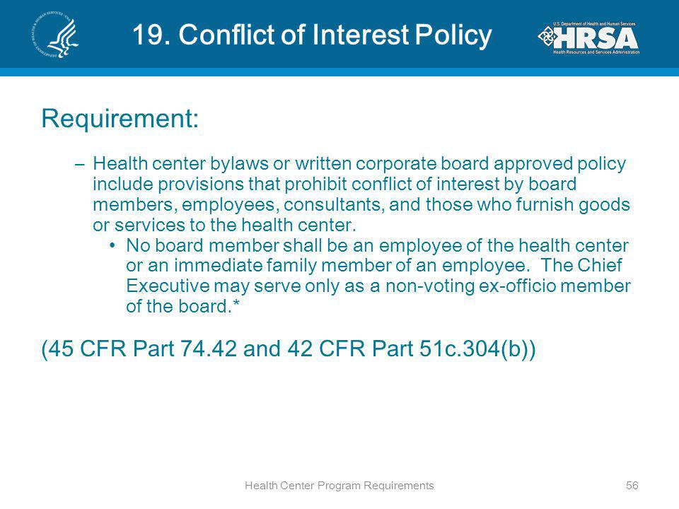 19. Conflict of Interest Policy