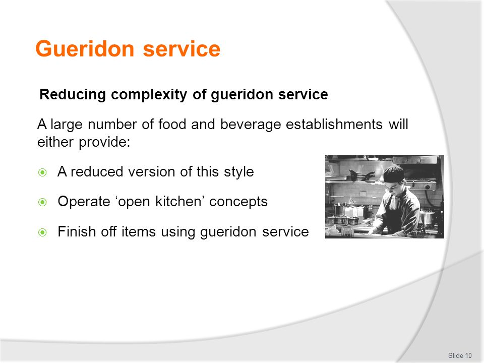 Gueridon service Reducing complexity of gueridon service