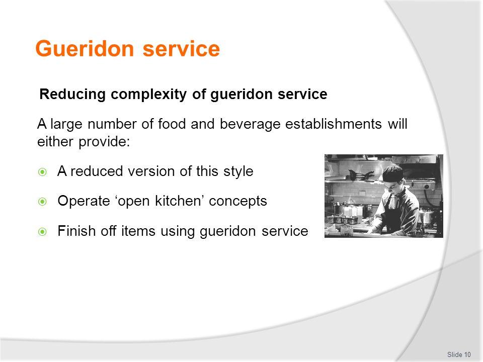 Gueridon service Reducing complexity of gueridon service