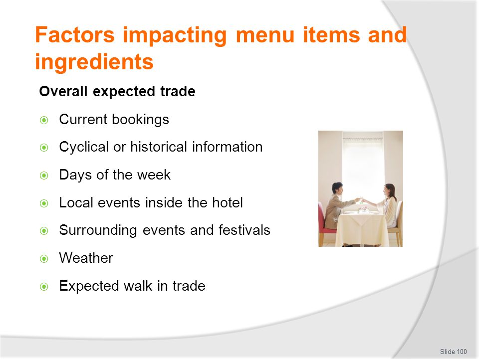 Factors impacting menu items and ingredients