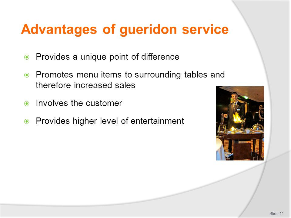 Advantages of gueridon service