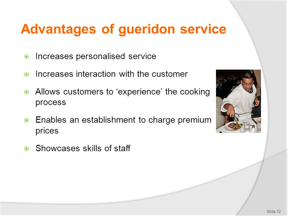 Advantages of gueridon service