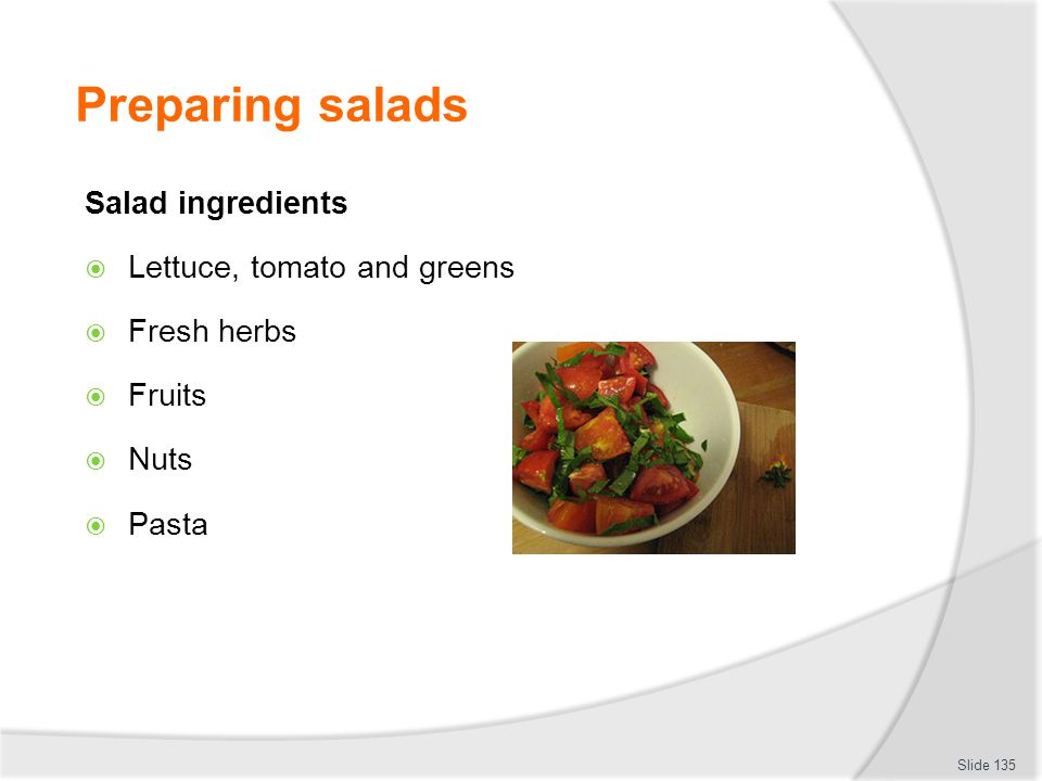 Preparing salads Salad ingredients Lettuce, tomato and greens