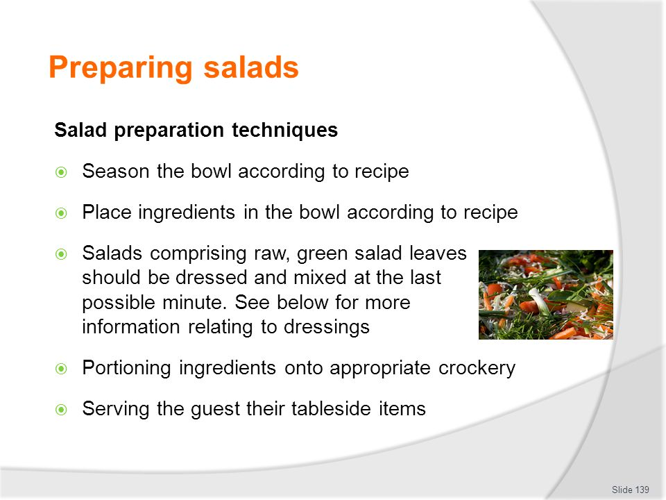 Preparing salads Salad preparation techniques