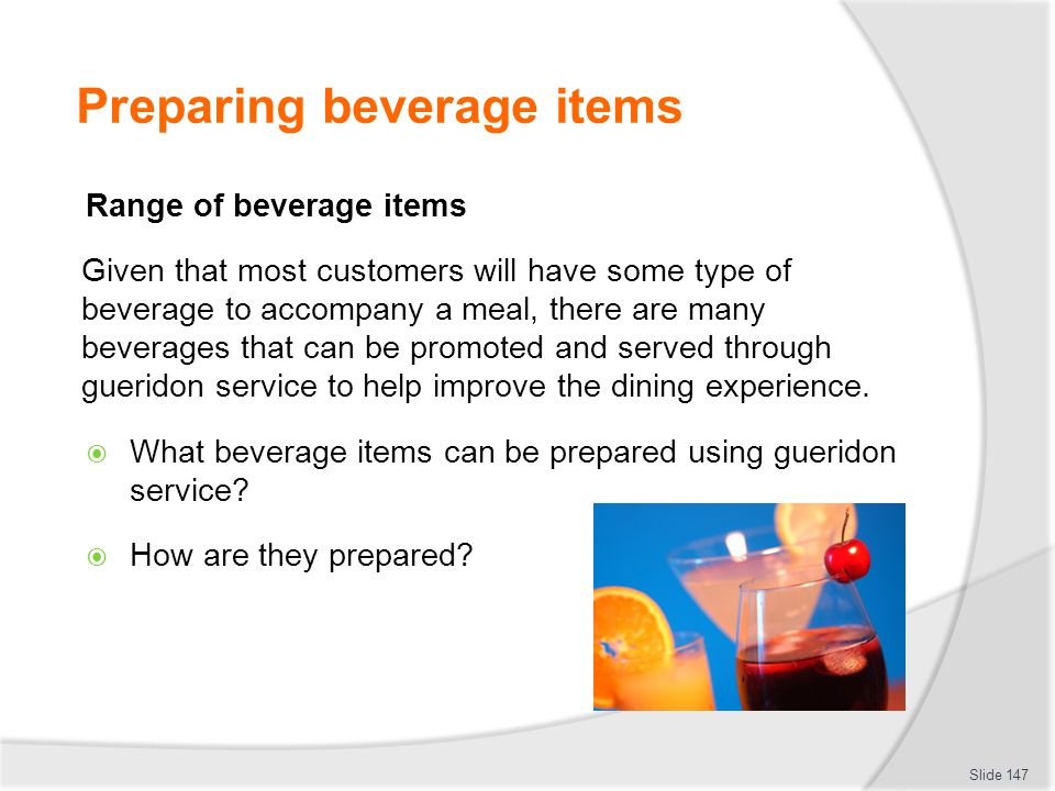 Preparing beverage items