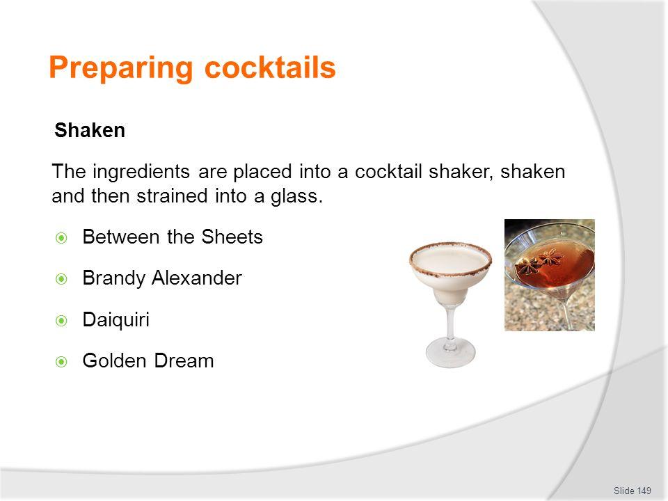 Preparing cocktails Shaken