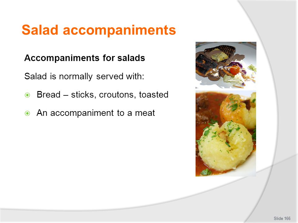 Salad accompaniments Accompaniments for salads