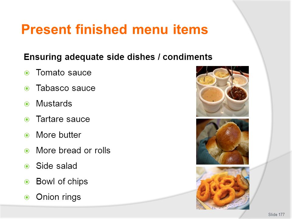 Present finished menu items
