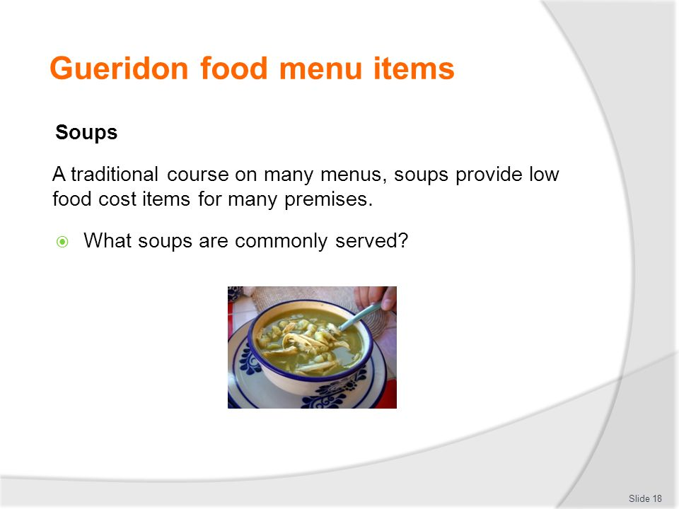 Gueridon food menu items