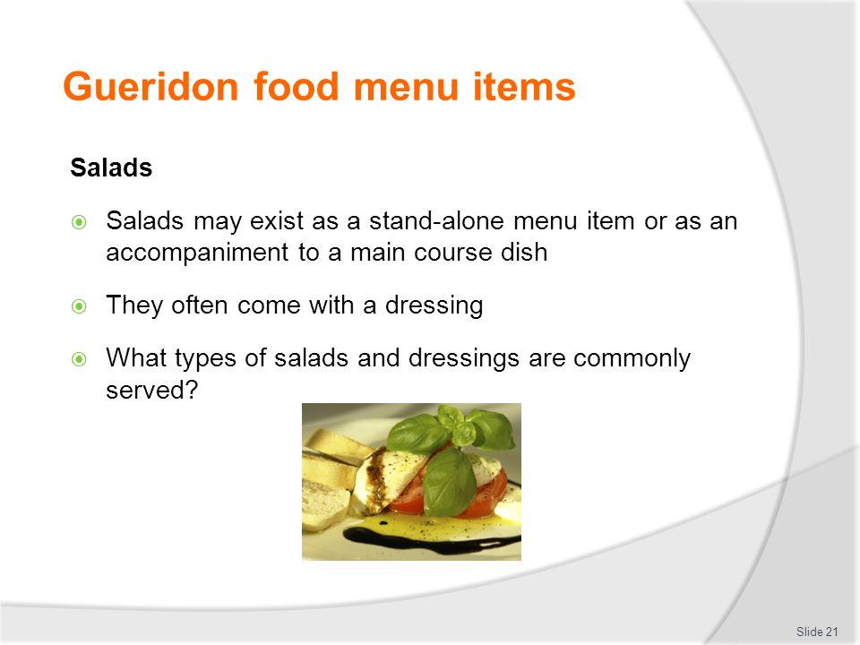 Gueridon food menu items