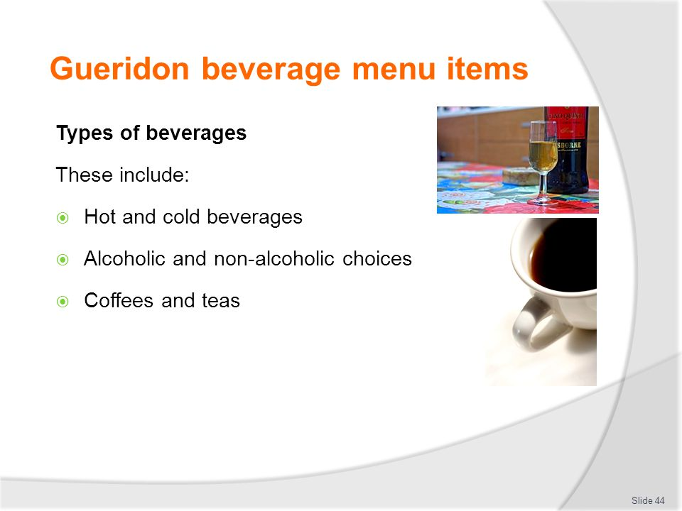 Gueridon beverage menu items