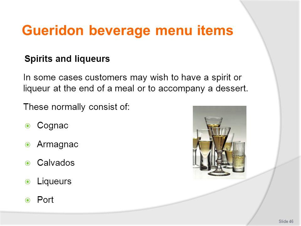 Gueridon beverage menu items