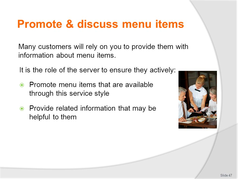 Promote & discuss menu items