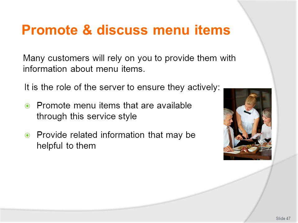 Promote & discuss menu items