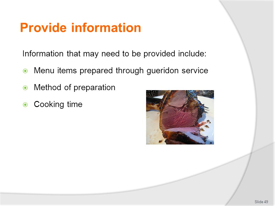 Provide information Information that may need to be provided include: