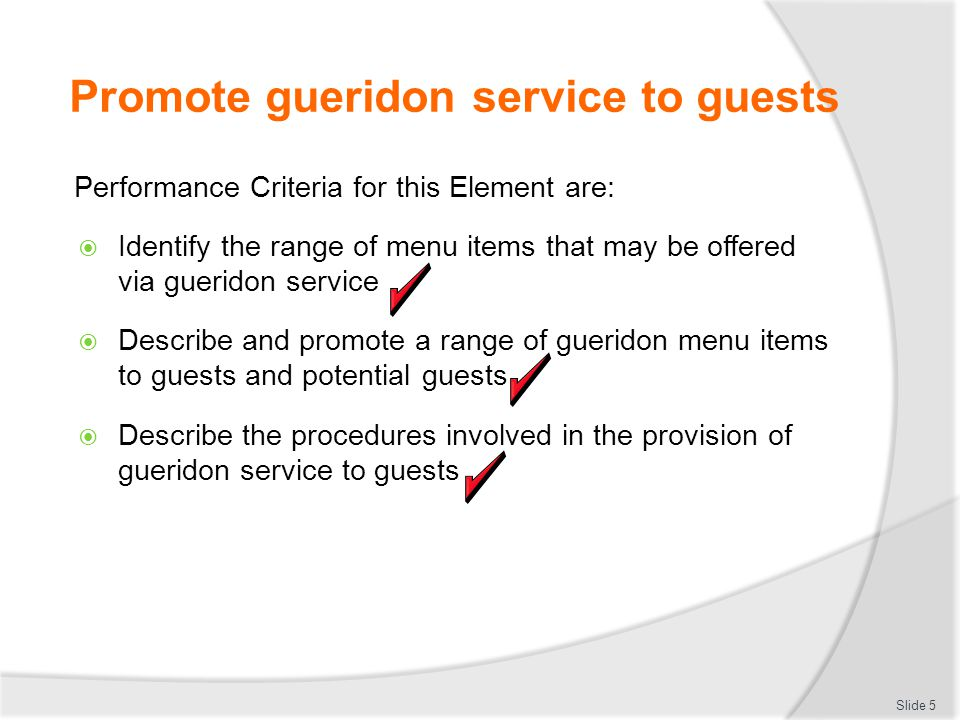 Promote gueridon service to guests