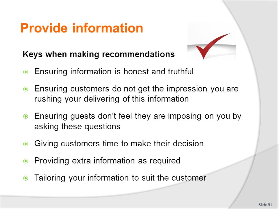 Provide information Keys when making recommendations