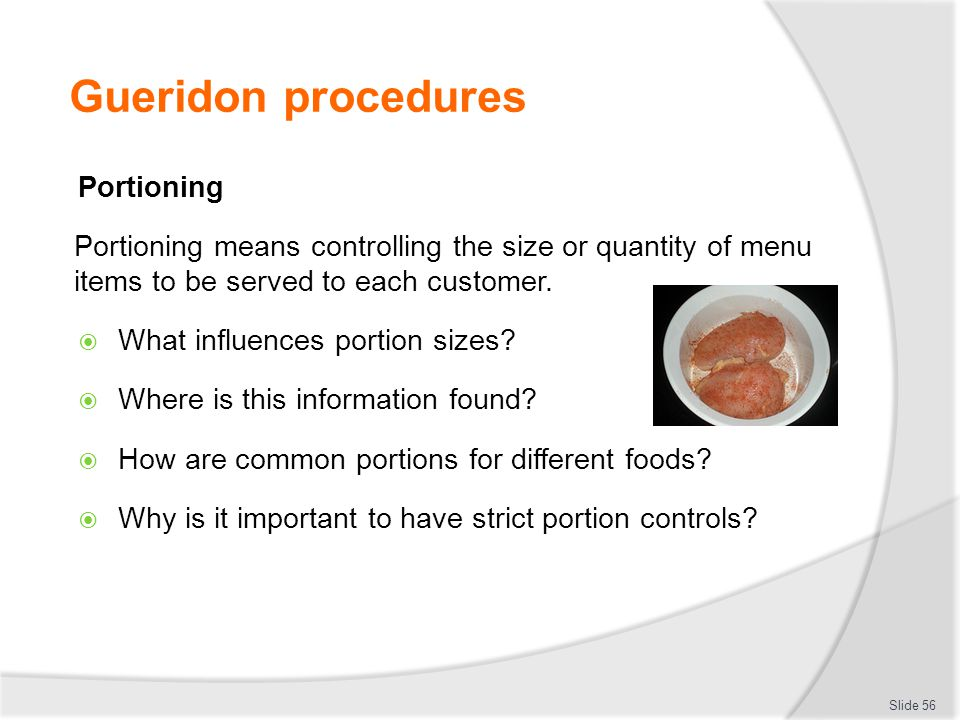 Gueridon procedures Portioning