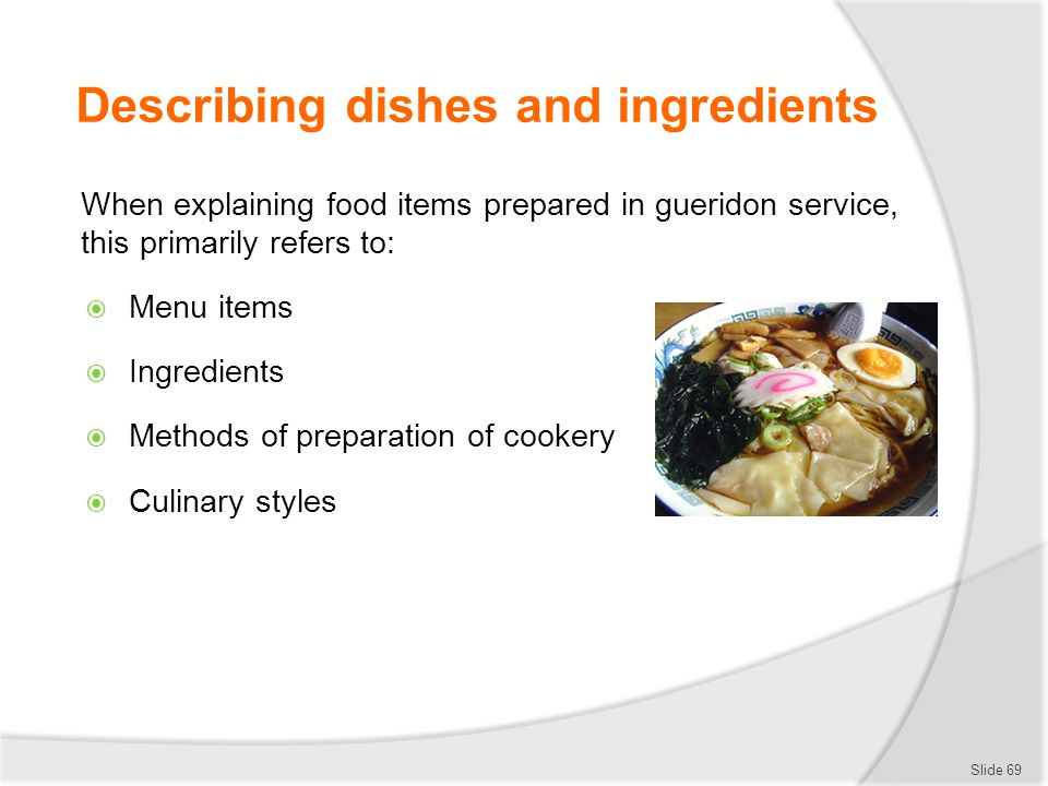 Describing dishes and ingredients