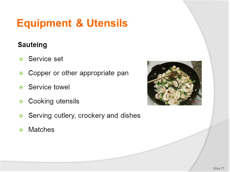 Equipment & Utensils Sauteing Service set