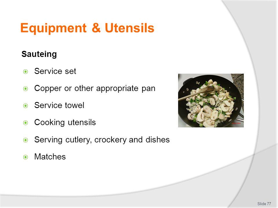 Equipment & Utensils Sauteing Service set