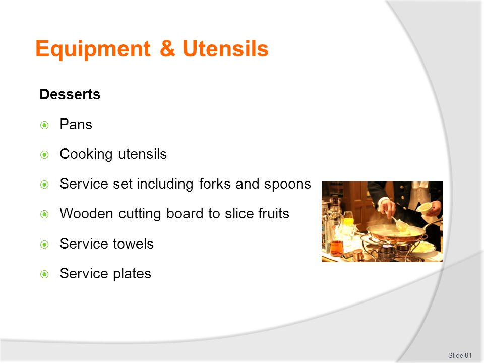Equipment & Utensils Desserts Pans Cooking utensils